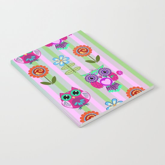 Fantasy summer flowers and owls on a striped background, pattern design Notebook