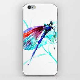 Dragonfly , Turquoise Bright Blue Red art iPhone Skin