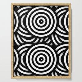 Retro Black White Circles Op Art Serving Tray
