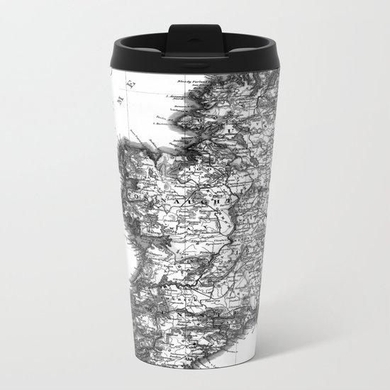 Vintage Black and White Ireland MAp Metal Travel Mug