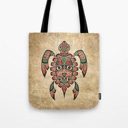 Vintage Red and Green Haida Spirit Sea Turtle Tote Bag
