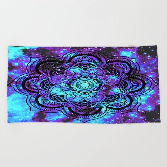 Mandala : Bright Violet & Teal Galaxy 2 Beach Towel