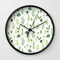 leaves Wall Clocks featuring Leaves by Vicky Webb