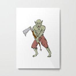 Orc Warrior Wielding Tomahawk Cartoon Metal Print