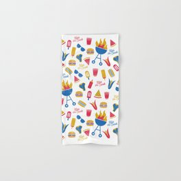 Summer BBQ Pattern - Blue Red Yellow Hand & Bath Towel
