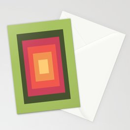 Green, Pink, and Gold Rectangles Stationery Cards