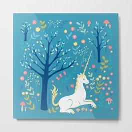 Teal unicorn garden Metal Print