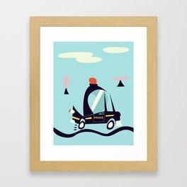 Cartoon Police Car Framed Art Print
