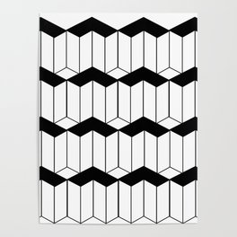 L shaped 3d block art Poster