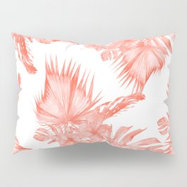 Tropical Palm Leaves Hibiscus Flowers Deep Coral Pillow Sham