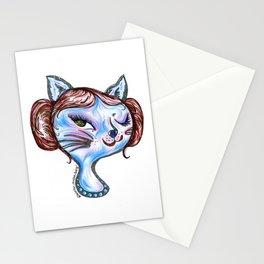 Winking Kitty Organa Stationery Cards