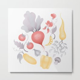 Vegetables (pastel) Metal Print