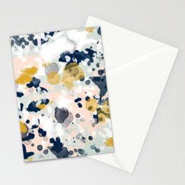 Noel - navy mint gold painted abstract brushstrokes minimal modern canvas art painting Stationery Cards