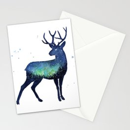 Galaxy Reindeer Silhouette with Northern Lights Stationery Cards