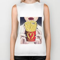 french fries Biker Tanks featuring I LOVE FRENCH FRIES by Analy Diego