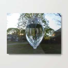 Wine Glass Reflection Metal Print