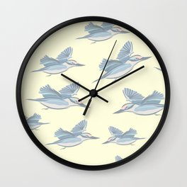 flying Birds on a Lemon Background Wall Clock