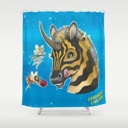 Goodnight Unicorn Zebra Shower Curtain