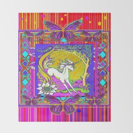 Chromatic  Dancing Unicorn Floral Abstract Throw Blanket