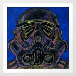 dark stormtrooper with 4 eyes Art Print