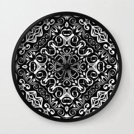 Kaleidoscope White Lace Print Wall Clock