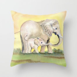 Colorful Mom and Baby Elephant 2 Throw Pillow
