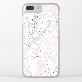 Classy doodles hand drawn floral artwork Clear iPhone Case