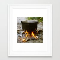 cooking Framed Art Prints featuring Campfire Cooking by Mile of Sky