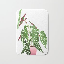 Polka Dot Begonia Potted Plant in White Bath Mat
