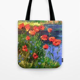 Poppies at the pond Tote Bag