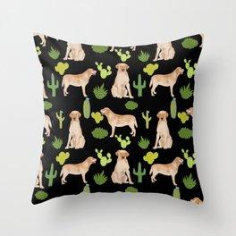 Labrador Retriever yellow lab cute cactus southwest pet portrait dog breed desert Throw Pillow