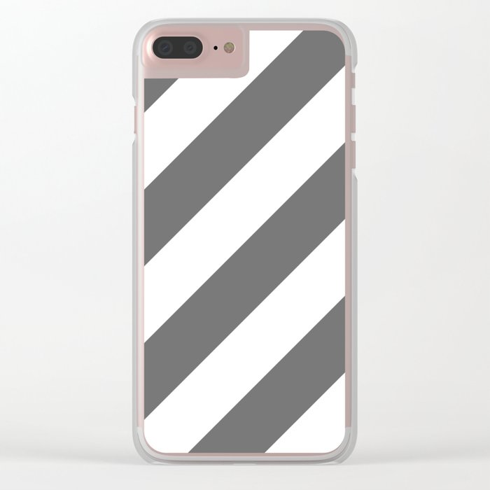 Gray diagonal striped pattern Clear iPhone Case