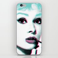 audrey hepburn iPhone & iPod Skins featuring AUDREY HEPBURN by Nuk_