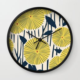 vintage, retro yellow, red and navy flower pattern Wall Clock