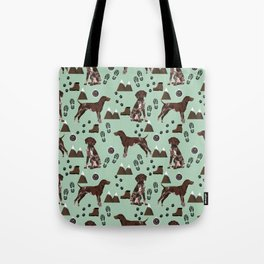 German Shorthair Pointer mountain hiking hiker outdoors camping dog breed Tote Bag