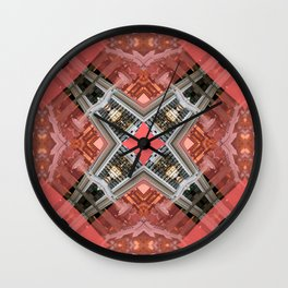 Living Coral Pantone Colour of the Year 2019 pattern decoration with neoclassical architecture Art Wall Clock