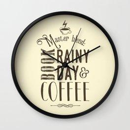 Coffee, book & rainy day II Wall Clock