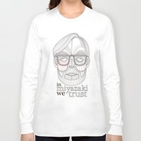 hayao miyazaki Long Sleeve T-shirts featuring Hayao Miyazaki portrait by Felip Ariza Montobbio