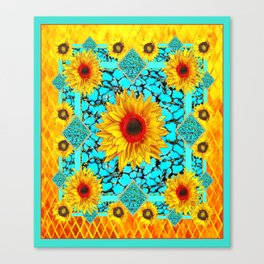 Blue Turquoise Gemstone Yellow-red Sunflowers Western Art. Canvas Print
