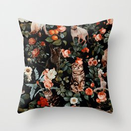 Cat and Floral Pattern II Throw Pillow