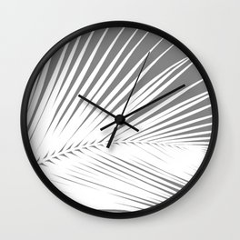 Large Palm Leaf, Grey / Gray and White Wall Clock