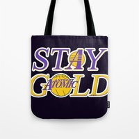 stay gold Tote Bags featuring Stay Gold by Ant Atomic