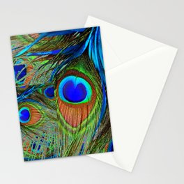 BLUE-GREEN PEACOCK FEATHERS ART Stationery Cards