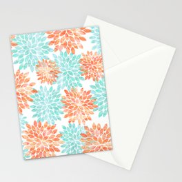 aqua and coral flowers Stationery Cards