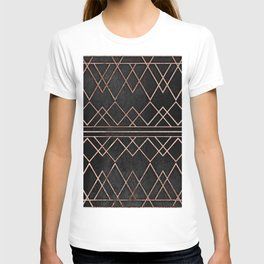 Chic & Elegant Faux Rose Gold Geometric Triangles T-shirt