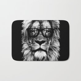 Hipster Lion Black Bath Mat