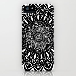Bold Mandala Black and White Simple Minimal Minimalistic iPhone Case