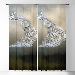 Snowy Owl Soaring Blackout Curtain