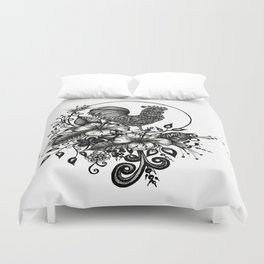 """Pen and Ink Art, """"ROOSTER"""" Duvet Cover"""