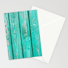Shabby Chic Turquoise Fence Panel Repeat Pattern Stationery Cards